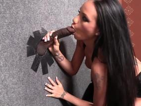 Raven Bay finds the crazy hole in the wall, full of cock-Official GloryHole.com