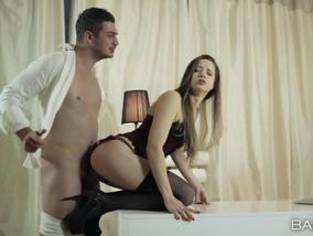 Beautiful Taissia shows off her talents for cock