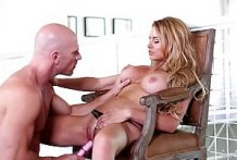 Blonde with big tits rides an old man Johnny Sins