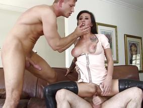 Tattooed Lily Lane having a hot threeway with some studs-OW Burning Angel