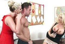 Two naughty teacher and a young student in the classroom-Official Website Naughty America