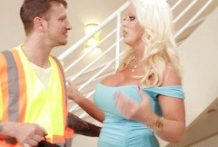 Busty Blonde gets screwed by Construction Worker in different poses
