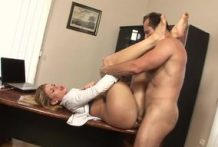 Pretty blonde babe sucks cock in the office