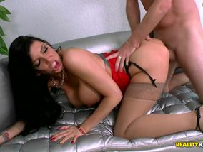 Lovely brunette girl Romi Rain gets pretty cock to fuck