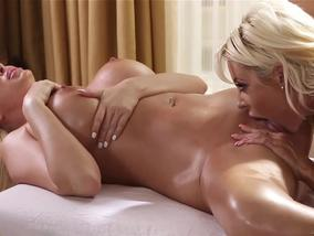 Courtney Taylor and Summer Brielle in the best lesbian game-OW All Girl Massage