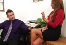 Busty secretary has sex with her young boss at work-OW Naughty America