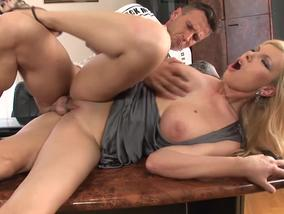 Cougar gets fucked in the office