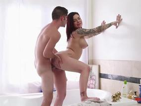Readhead Tattoed Sexy Girls Wants Fucked in Bathroom-OW New Sensations
