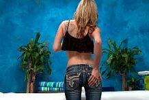 Petite Slutty Blonde Babe In Massage Saloon