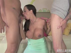 Ariella Ferrera Gives Head In A Threesome
