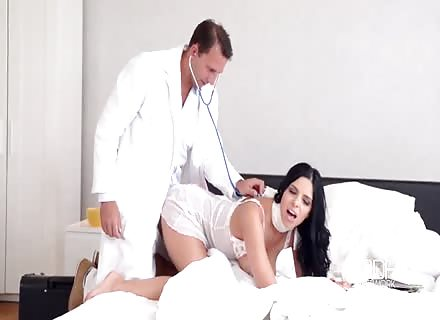 Good Times With Beautiful Brunette Babe And Doctor