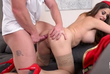 2925 Big Tited Stewardess Cathy Heaven In Red Uniform Makes Porn With Captain